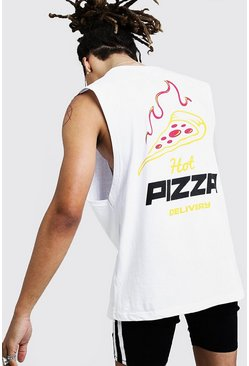 Mens White Drop Armhole Tank With Pizza Graphic