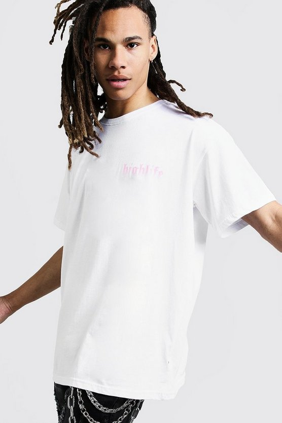 Highlife Print Oversized T-Shirt, White, HOMMES