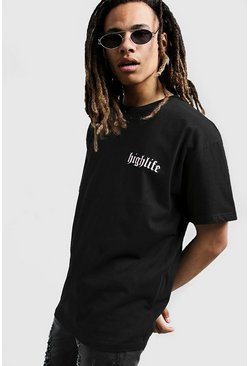Mens Black Highlife Print Oversized T-Shirt