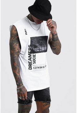Mens White Drop Armhole Tank With Front Graphic