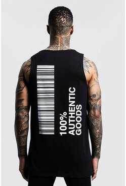 Mens Black Longline Vest With Front & Back Print