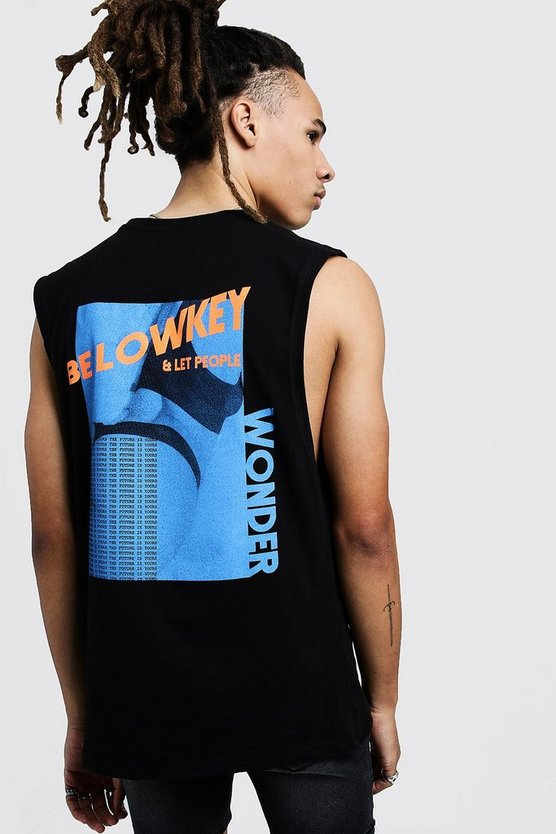 Drop Armhole Tank With Back Graphic Print, Black, HOMBRE