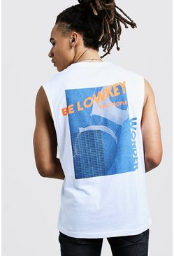 Mens White Drop Armhole Tank With Back Graphic Print