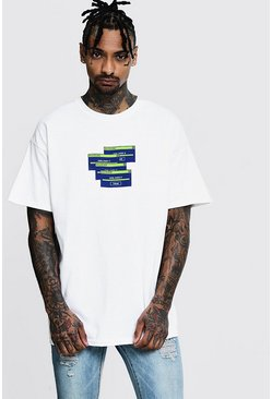 Oversized Graphic Print T-Shirt, White, Uomo