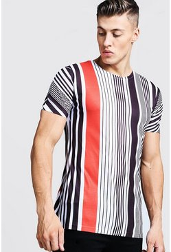 Contrast Vertical Stripe T-Shirt, White, HERREN