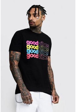 Rainbow Slogan T-Shirt, Black, HERREN