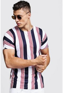 Multi Stripe Crew Neck T-Shirt, White, HOMBRE