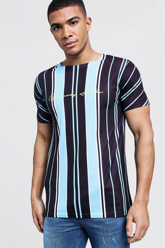 Mens Blue Beverly Hills Stripe Crew Neck T-Shirt