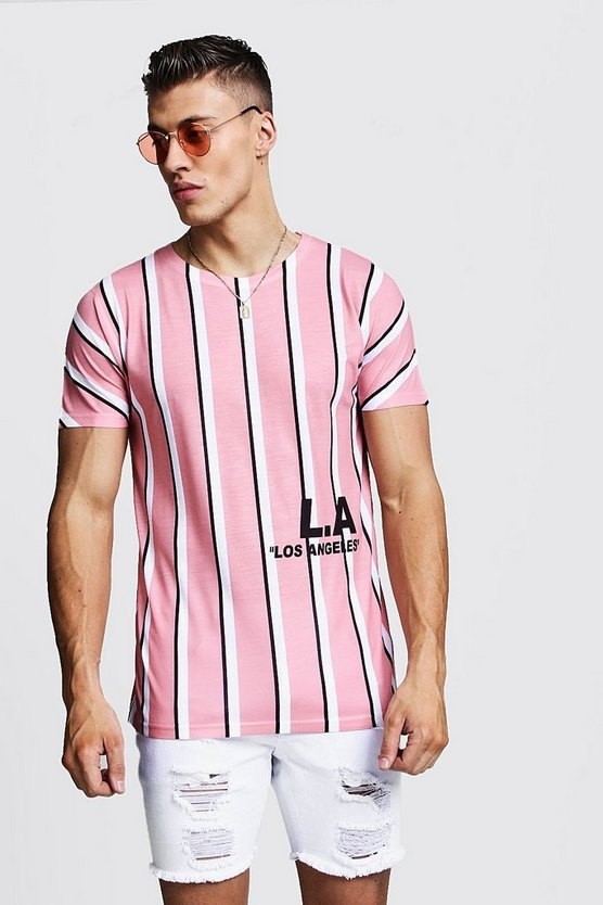 Mens Pink Stripe T-Shirt With L.A Print