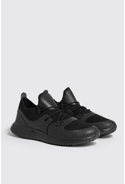 Mens Black Mesh Upper Trainers With Chunky Sole