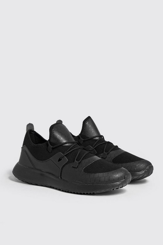 Mesh Upper Trainers With Chunky Sole, Black, HOMBRE