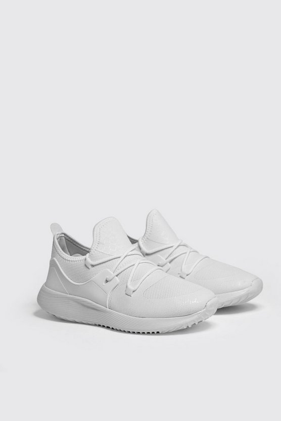 Mens White Mesh Upper Trainers With Chunky Sole