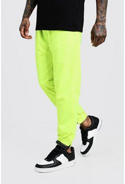 Mens Lime Nylon MAN Velcro Cuffed Jogger