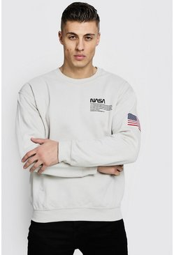Nasa License Sweatshirt, Ecru, HERREN