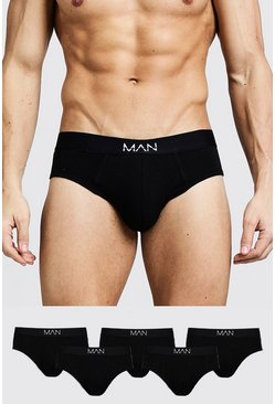 5 Pack MAN Dash Breifs, Black, Uomo