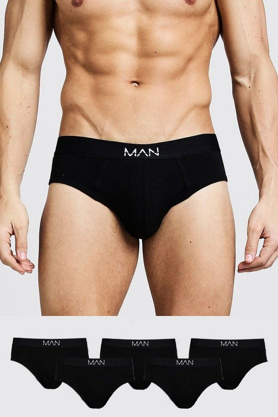 Mens Black 5 Pack MAN Dash Breifs