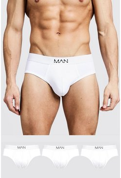 3 Pack MAN Dash Briefs, White, HOMBRE