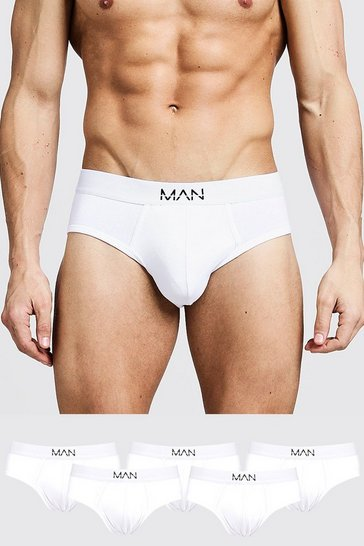 White 5 Pack MAN Dash Briefs