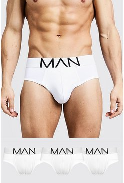 3 Pack MAN Logo Briefs, White