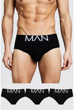 3 Pack MAN Logo Briefs, Black, Uomo
