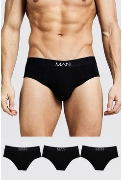 Mens Black 3 Pack MAN Dash Briefs