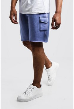 Mens Pale blue Mid Length Washed Raw Hem Cargo Short