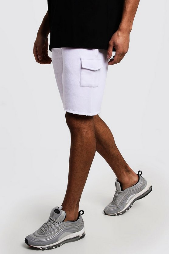 Ecru Mid Length Washed Raw Hem Cargo Short