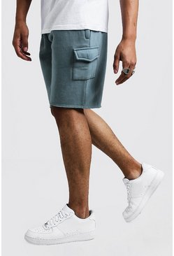 Mid Length Washed Raw Hem Cargo Short, Abyss, HERREN