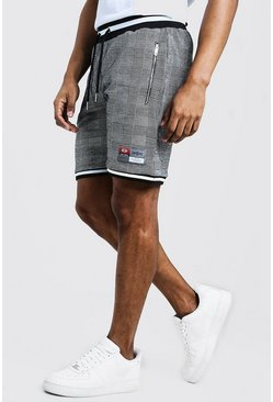 Check Jacquard Shorts With Sports Tape Detail, Black, Uomo