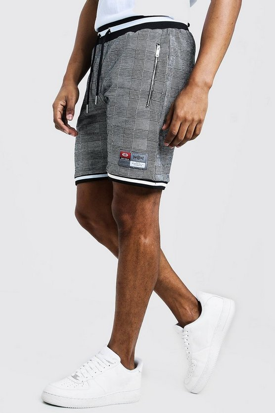 Check Jacquard Shorts With Sports Tape Detail, Black, HOMBRE