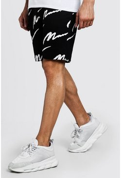 Mens Black All Over MAN Print Mid Length Short