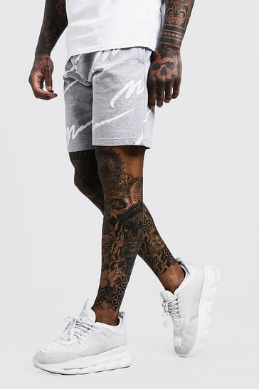 Grey All Over MAN Print Mid Length Short