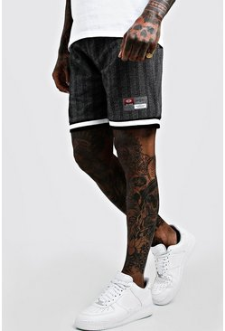 Mens Black Herringbone Jacquard Shorts With Sports Tape Detail