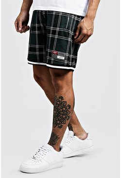 Mens Navy Check Jacquard Shorts With Sports Tape Detail