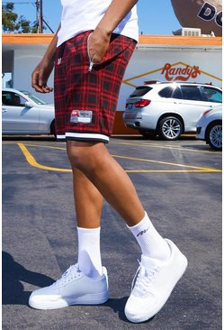 Herr Red Tartan Shorts With Sports Tape Detail