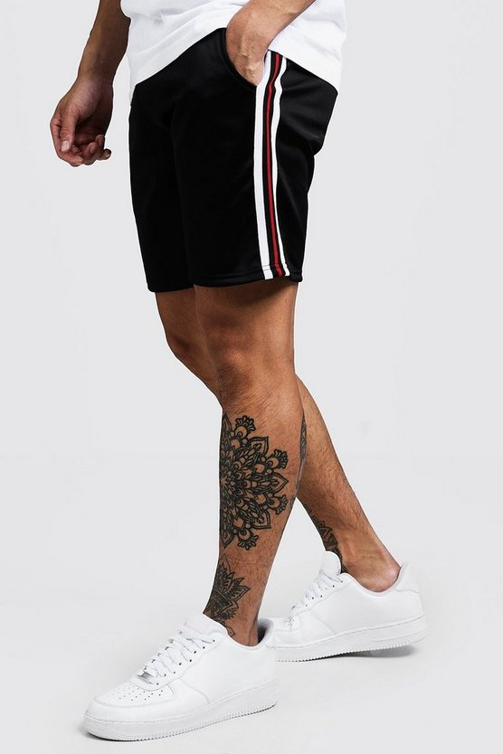 Mens Black Tape Detail Mid Length Short With Sports Rib