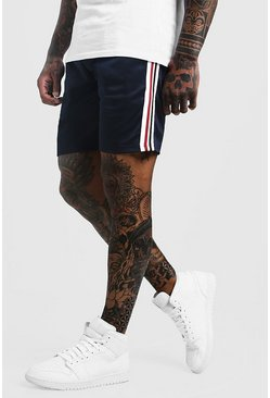 Tape Detail Mid Length Short With Sports Rib, Navy, Uomo