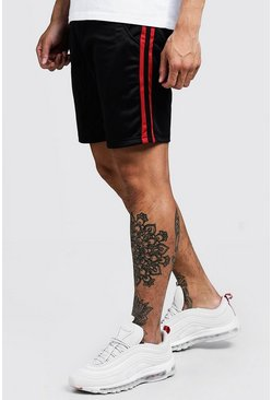 Mens Red Double Side Panel Tricot Mid Length Short