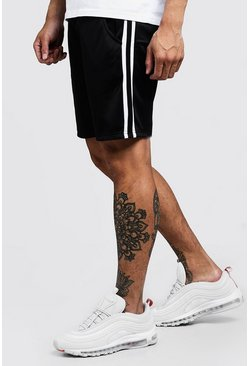 Mens White Double Side Panel Tricot Mid Length Short