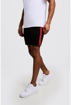 Side Panel Tricot Mid Length Short, Red, Uomo