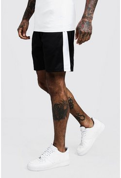 Mens White Side Panel Tricot Mid Length Short