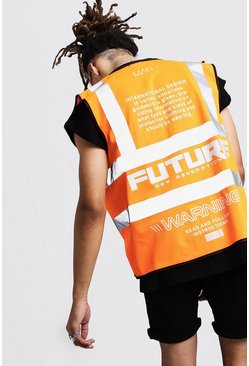 Mens Orange Reflective Detail Man Future Hi-Vis Vest