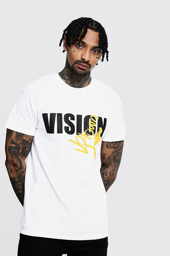 Mens White Regular Vision Slogan Print Tee
