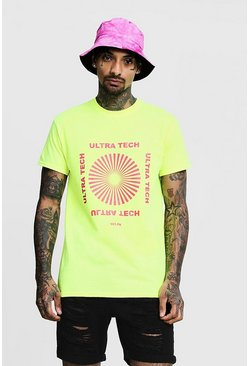 Regular Ultra Neon Print Tee, Green, HERREN