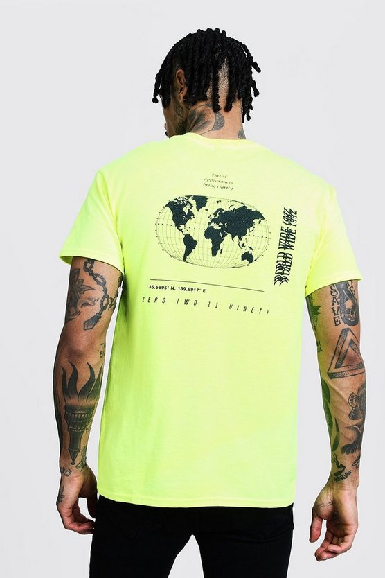 Mens Green Regular MAN Globe Print Tee