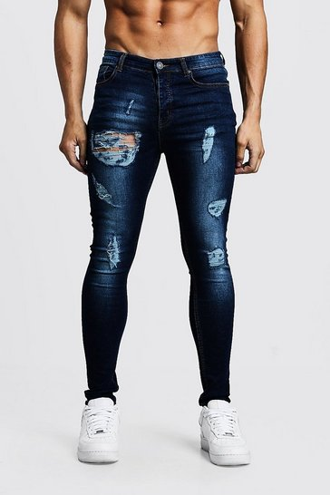 Mens Washed indigo Super Skinny Jeans With All Over Rips