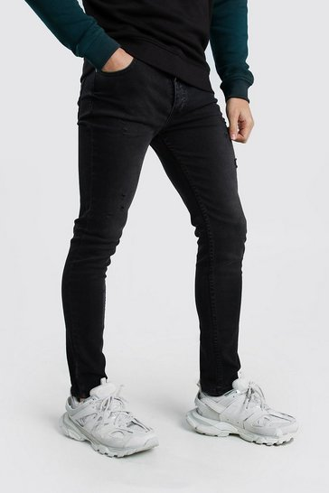 Charcoal Skinny Fit Jeans With Light Distressing