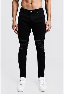 Herr Black Skinny Fit Jeans With Ripped Knees