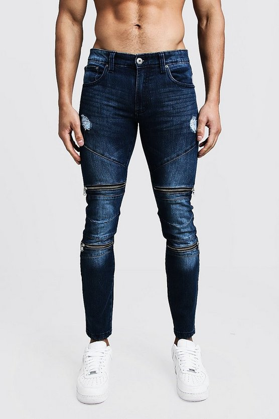 Mens Dark blue Super Skinny Biker Panel Jeans With Zip Detail