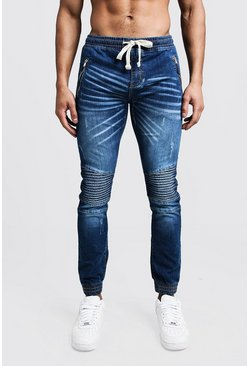 Mens Blue Skinny Fit Biker Jeans With Cuffed Hem